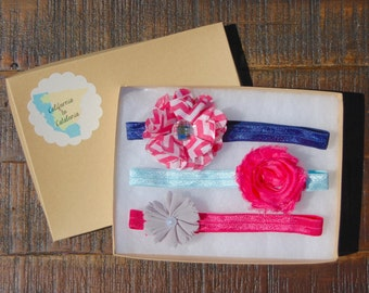 Pink Navy Headband Set, Pink Chevron Flower, Baby Headband Neon, Girly Headband, Elastic Headband Set, Headband Bundle, Aqua Pink Headband