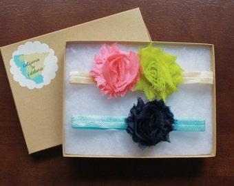 Cream Coral Headband, Girly Headband, Baby Hair Bands, Headband Pair, Two-Flower Headband, Pink Coral Headband, Pale Blue Headband