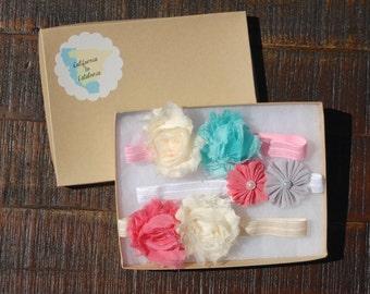 Flower Girl Headband, Flower Girl Headband Set, Shabby Flower, Pearl Flower, Cream Headband, Pink Headband, White Headband, Aqua Headband