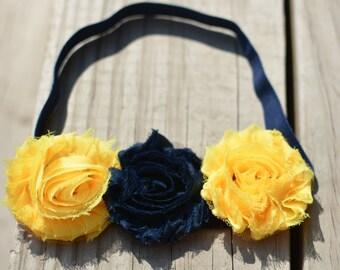 Go Blue - Michigan - UMich - Cal Bears - School Color Flower Headband - Child Headband - Toddler - Adult - Shabby Chic - College Football