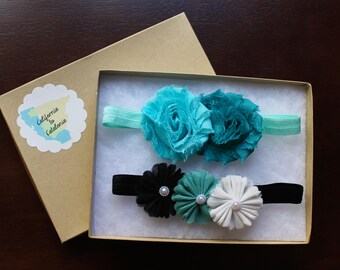 Aqua Headband, Aqua Hairband Set, Aqua Hair Band Set, Teal Headband Set, Turquoise Headband, Three-Flower Headband, Two Flower Headband