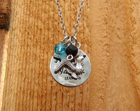 """Beach """"Mermaid kisses & Starfish wishes"""" Diffuser Necklace with Mermaid, Starfish, Blue Stone and Lava Bead on a 17"""" Chain Silver"""