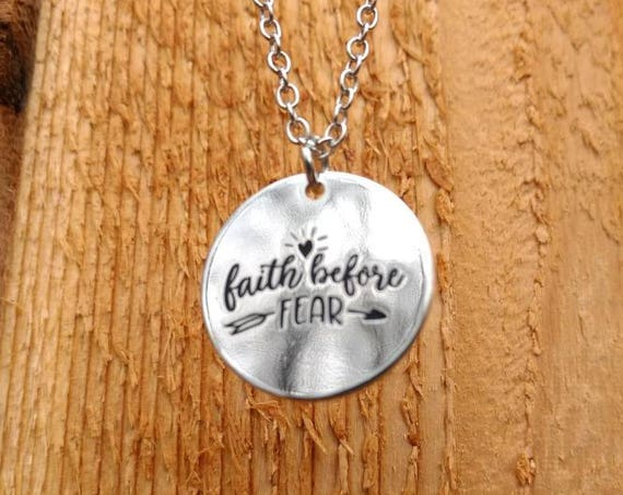 Faith before fear Diffuser Necklace Aromatherapy Essential Oil Lava Bead Silver Religious Scripture Young Living Doterra  Christmas Gift
