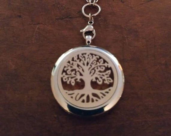 Beautiful, Aromatherapy, Silver, Stainless Steel, Tree of Life, Roots, Diffuser, Locket, Stainless Steel, Chain, Cork, Young Living, Doterra