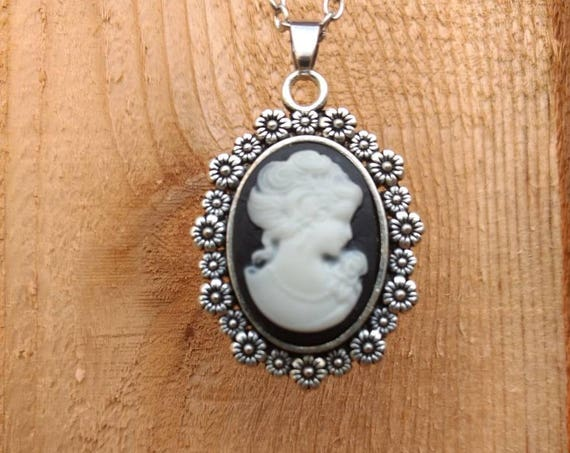 Black White Cameo Flowers Silver Diffuser Necklace Lava Bead Aromatherapy Essential Oils Birthday Graduation Gift Young Living Doterra Oils