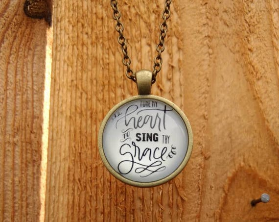 Bronze Cabochon Diffuser Necklace Gift Bible Scripture Tune my heart to sing thy grace Lava Bead Church Birthday Young Living Doterra SCRP2