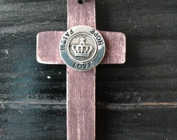 Wooden Cross Necklace, Inspirational Cross Pendant, Faith Hope Love, Young Living Oils, Doterra Oils