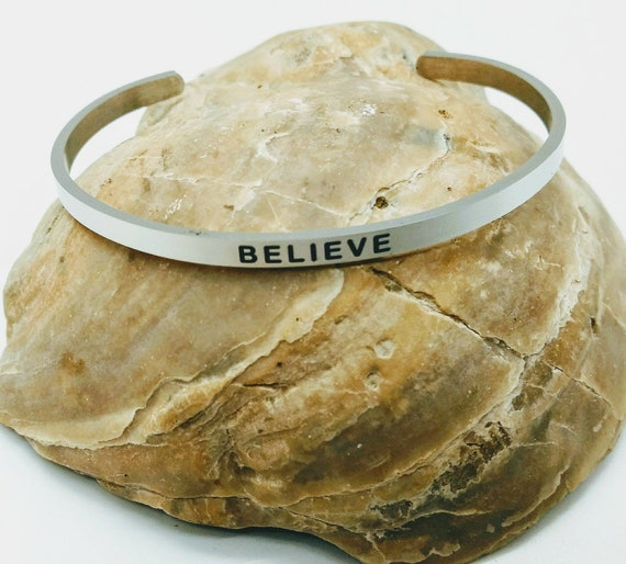 Inspirational Believe Engraved Bangle Cuff Bracelet Stainless Steel Word Silver Christian Religious Gift Mom Daughter Friend Christmas