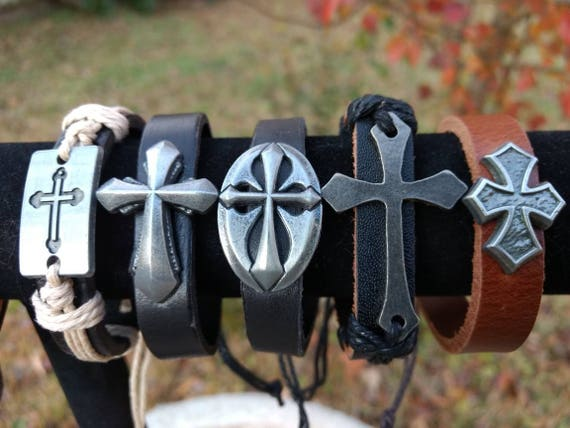 Boho Gothic Cross Leather Diffuser Bracelet 5 Styles Aromatherapy Essential Oil Young Living Doterra Mens Kids Graduation Birthday Gift
