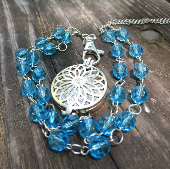 Statement Necklace Long Boho Aromatherapy Essential Oil Diffuser Locket Flower Lotus Blue Beaded Chain Graduation Gift Young Living Doterra