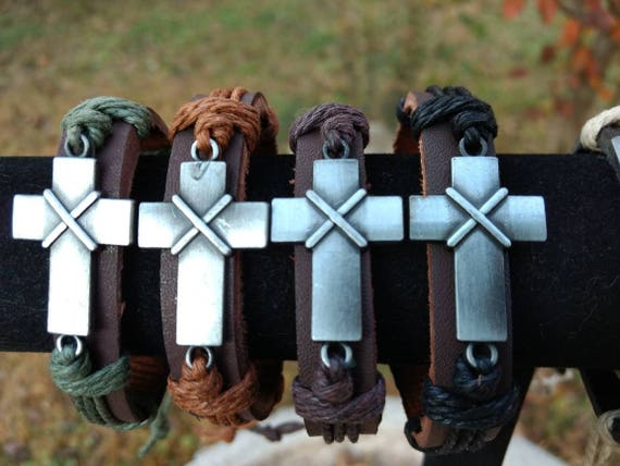 Leather Diffuser Bracelet Aromatherapy Essential Oil Cross Religious Mothers Day Birthday Christmas Young Living Doterra Four Thread Colors