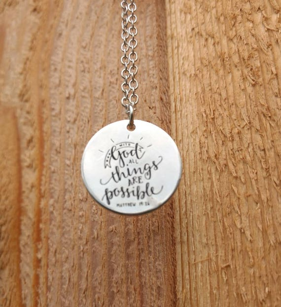 Essential Oil Diffuser Necklace With God all things are possible Lava Bead Silver Religious Scripture Young Living Doterra Christmas Gift