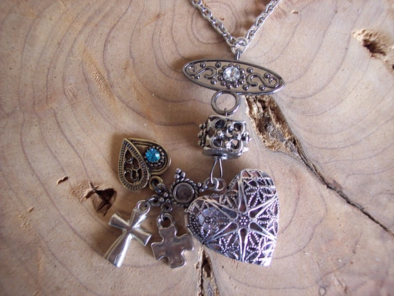 Stainless Steel, Chain, Fancy, Embellished, Connector, 4 Charms, Heart, Diffuser Locket, Aromatherapy, Essential Oil, Young Living , Doterra