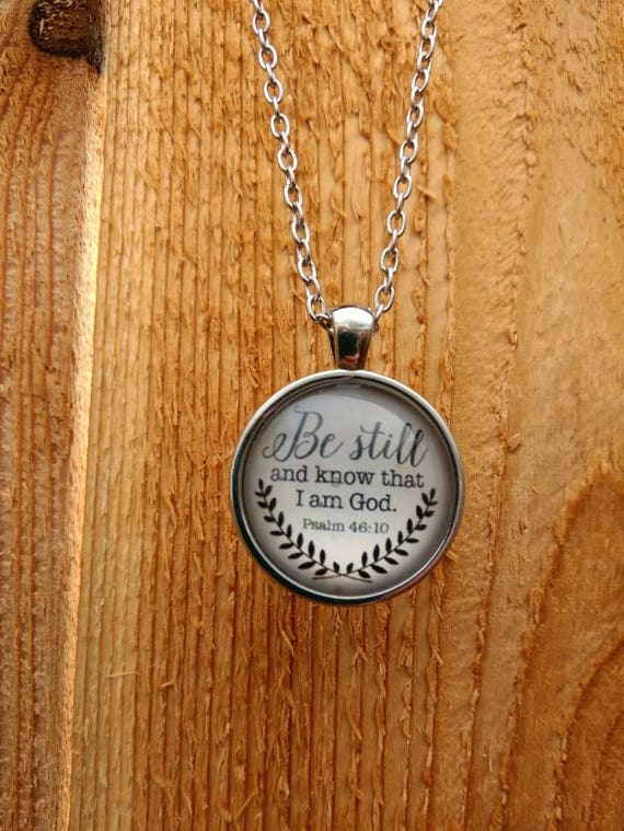 """Religious """"Be still and know that I am God. Psalms 46:10"""" Cabochon Diffuser Necklace with Lava Bead and 18"""" Chain Silver"""