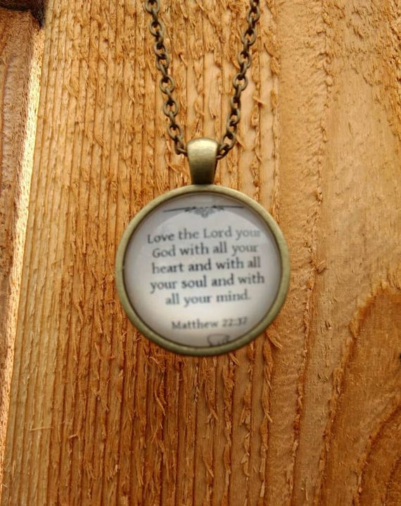 """Religious """"Matthew 22:37 Love the Lord your God"""" Cabochon Diffuser Necklace with Lava Bead and 18"""" Chain Bronze"""