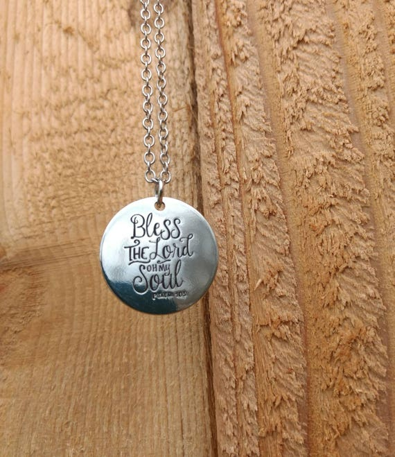 Religious, Scripture, Bless the Lord Oh my soul, Diffuser Necklace, Lava Bead. 17 inch, Chain Silver, Essential Oil, Young Living, Doterra
