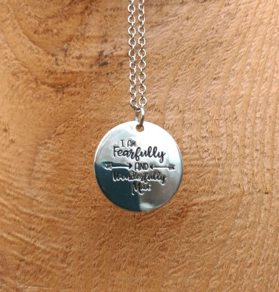Religious, Scripture, I am fearfully and wonderfully made, Essential Oils, Diffuser Necklace,  Lava Bead, 17 inch, Silver, Chain, Bible,