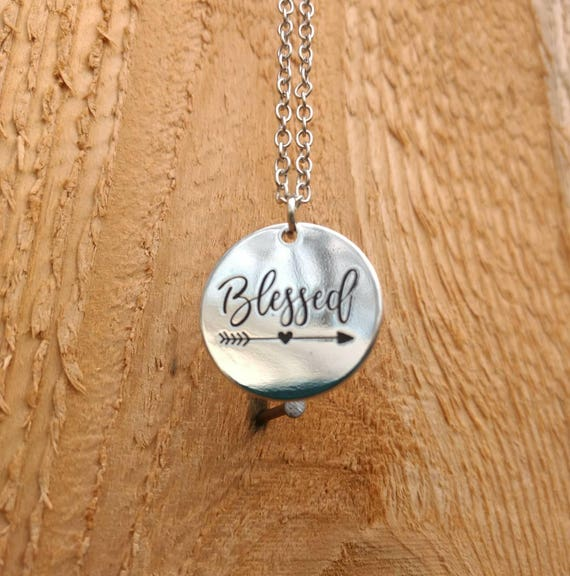 Religious Blessed Diffuser Necklace Aromatherapy Essential Oil Lava Bead Silver Best Friend Birthday Wedding Gift Young Living Doterra