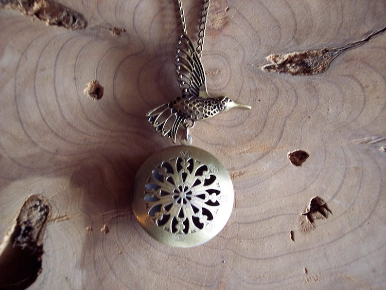 One of a kind Diffuser Necklace Boho Bird Connector Antique Bronze Aromatherapy Essential Oil Locket Birthday Gift Young Living Doterra Cork