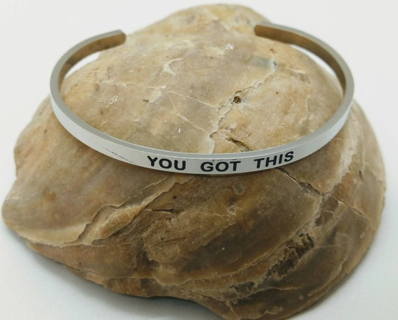 Inspirational You Got This Engraved Bangle Cuff Bracelet Stainless Steel Word Silver Christian Religious Gift Mom Daughter Sister Christmas