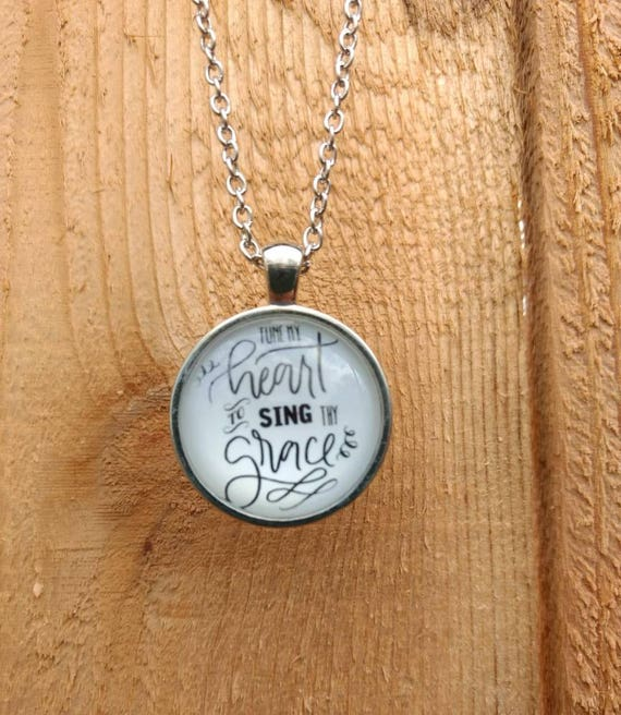 Religious Cabochon Aromatherapy Essential Oil Diffuser Necklace Lava Bead Scripture Tune my heart to sing thy grace Young Living Doterra