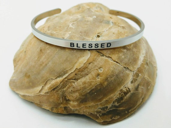 Inspirational Blessed Engraved Bangle Cuff Bracelet Stainless Steel Word Mantra Silver Christian Religious Gift Mom Daughter Sister Friend