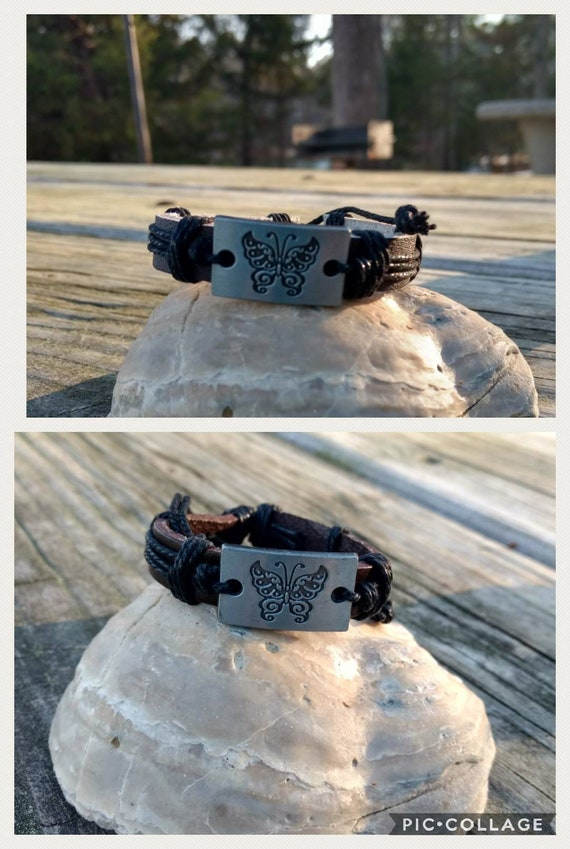 Leather Butterfly Diffuser Bracelet Aromatherapy Essential Oil  Young Living Doterra Black Brown Girls Ladies Birthday Gift
