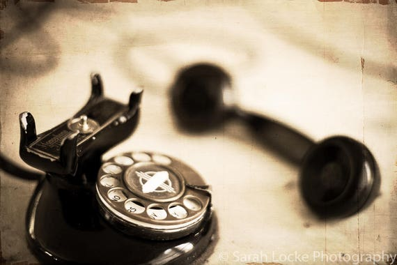 vintage rotary dial telephone, MCM, old telephone, fine art photography,  rotary phone, office wall decor, technology