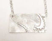 Sterling Silver Wave Necklace Ocean necklace Bar Necklace Uno de 50 Silver Wave necklace, Ocean wave necklace Silver Ocean Necklace