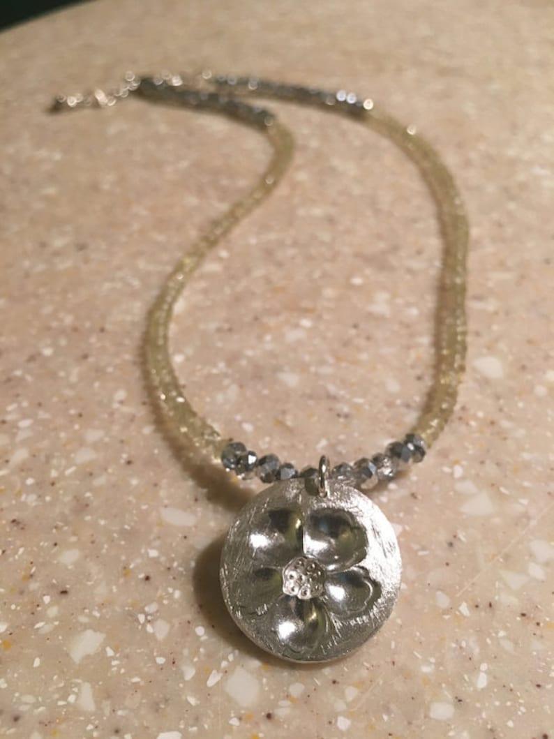 flower necklace november birthstone yellow topaz gemstone necklace Silver and topaz Topaz necklace silver flower silver floral