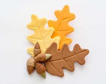 Fall Leaves and Acorns - Fondant Cake Topper