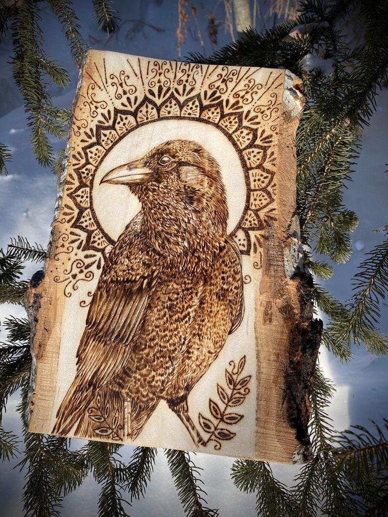 Mandala Animal Spirit Animal Spiritual Raven Depiction Pyrography Bringer in Light Native American Culture- Totem Wood Burned Art