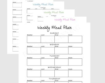 simple weekly meal planning printable instant download minimalist simple design 5 colors