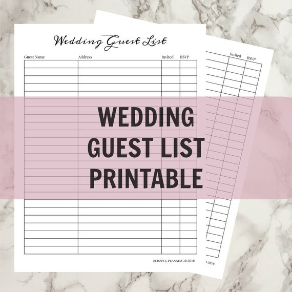 image relating to Printable Wedding Guest Lists referred to as Marriage Visitor Checklist Printable - Prompt Obtain - Revolutionary, Minimalist, Very simple Layout