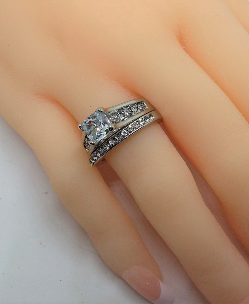 3.5 Carats 18K White Gold Filled Engagement Ring