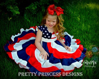 Red, White, Blue. 4th of July Pageant Twirl Dress, Custom Boutique