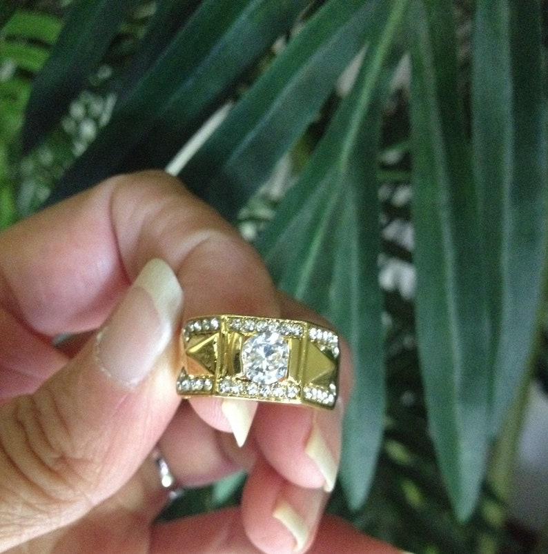 Yellow Gold Filled Diamonique Wedding Ring for Him