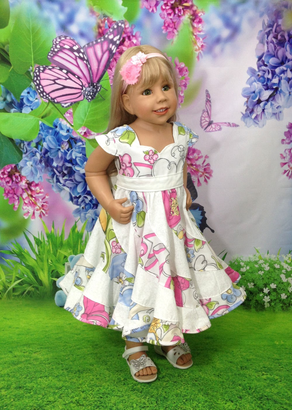 Spring Flowers Boutique Pageant Twirl Dressrts Etsy