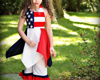 Red, White & Blue Patriotic Boutique 2 pc outfit, Boutique Pageant clothing. Size 6