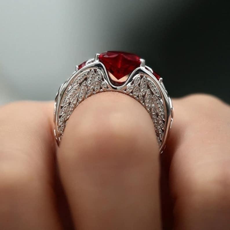 Natural Ruby Gemstones Birthstone Bride Wedding Engagement Heart Ring