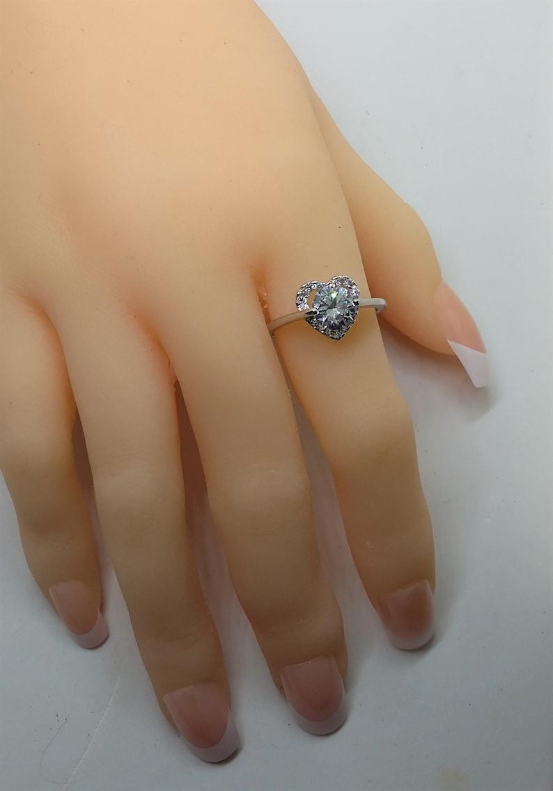 Fashion White Crystal Love Rings Women/'s Fine Zircon
