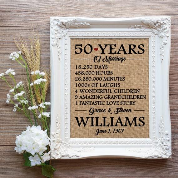 50 Hochzeitstag Geschenk 50 Jahre Jubiläumsgeschenk Mama Und Papa Jahrestagsgeschenk Geburtstagsgeschenk Bauernhaus Jahrestag