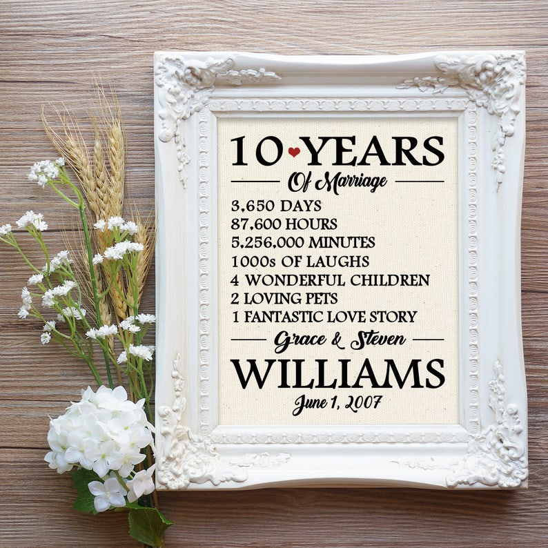 10 Years Of Marriage 10th Wedding Anniversary Gift 10 Year Etsy