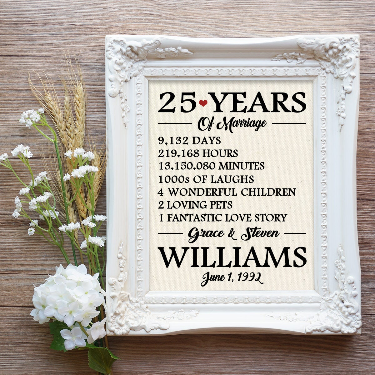 25 Years Of Marriage Print 25th Wedding Anniversary Gift 25 Etsy