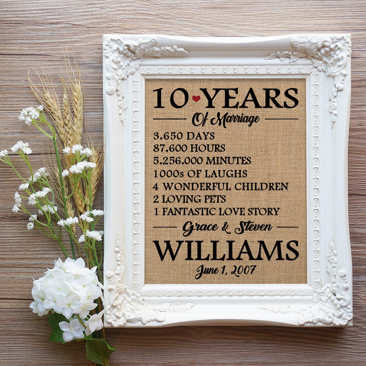10 Year Anniversary Gift 10 Years Of Marriage Gift 10th Etsy