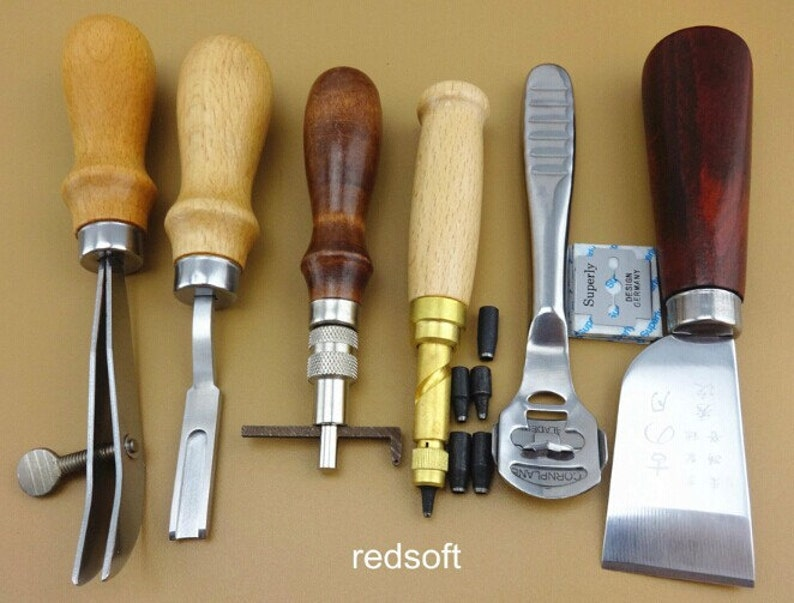 60 Tools Leathercraft Tool Set Leather Craft Hand Sewing Tool Kit Groover Beveler Punch Cutter Awl etc. Leather Tool