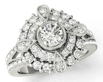 Forever Brilliant Moissanite & Diamond Vintage Inspired Engagement Ring 14k White Gold - Antique Moissanite Rings for Women - Diamond Halo