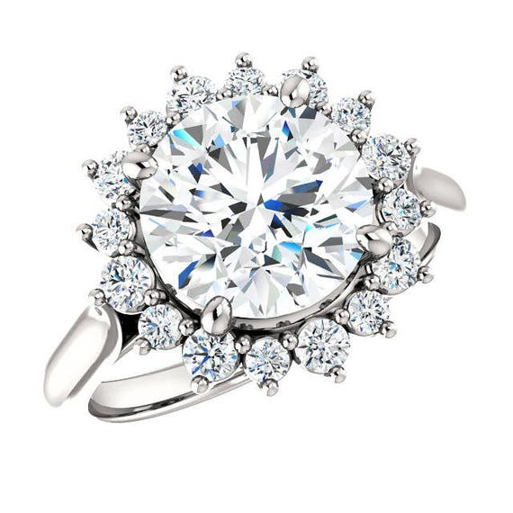 f8f0ba53f54 3.00 Carat (9mm) Round Forever One Moissanite & Diamond Flower Halo  Engagement Ring Plain Band - Round Moissanite Wedding Rings 3 carat