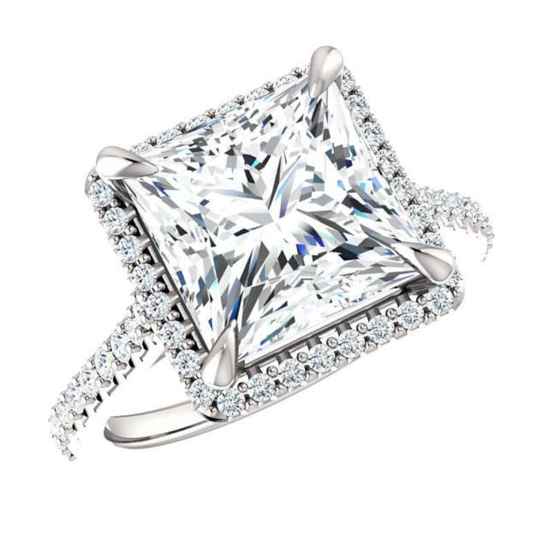 4 30 Carat (9mm) Princess Supernova Moissanite & Diamond Claw Prongs  Engagement Ring Plain Band - Princess Moissanite Wedding Rings 4 carat