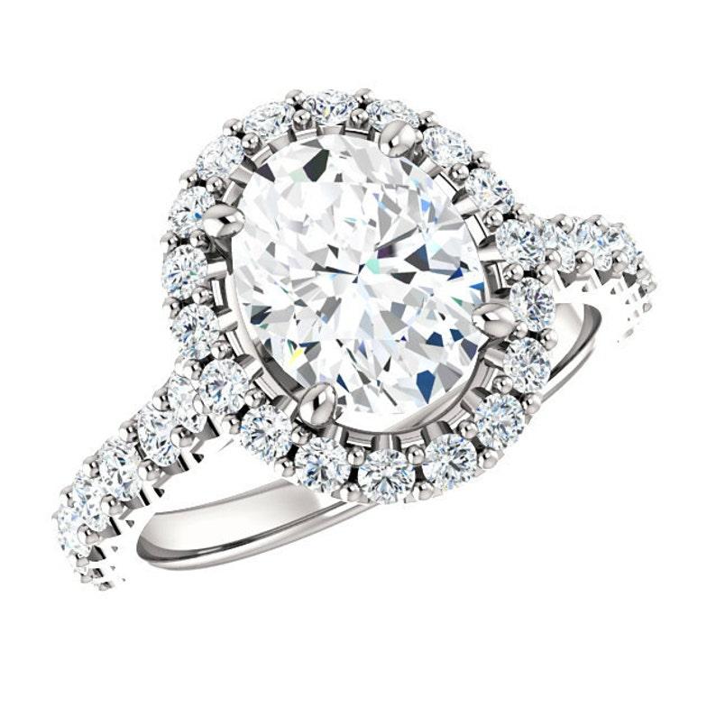 0dfbfcdad5955 9x7mm Oval Forever One Moissanite & Diamond Halo Engagement Ring 14k White  Gold, 18k or Platinum, Moissanite Engagement Ring for Women 2 CT